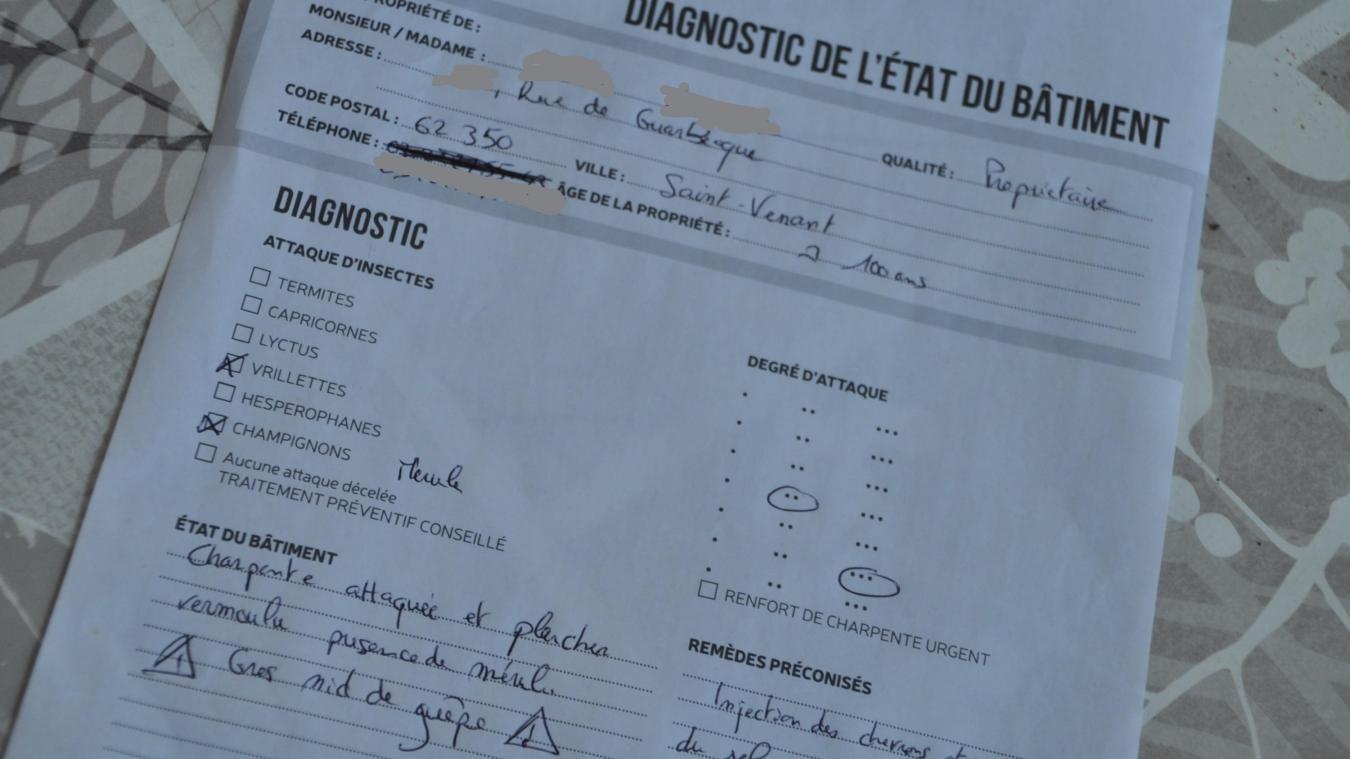 Le diagnostic du démarcheur atteste d'une grande avancée de l'état du mérule.
