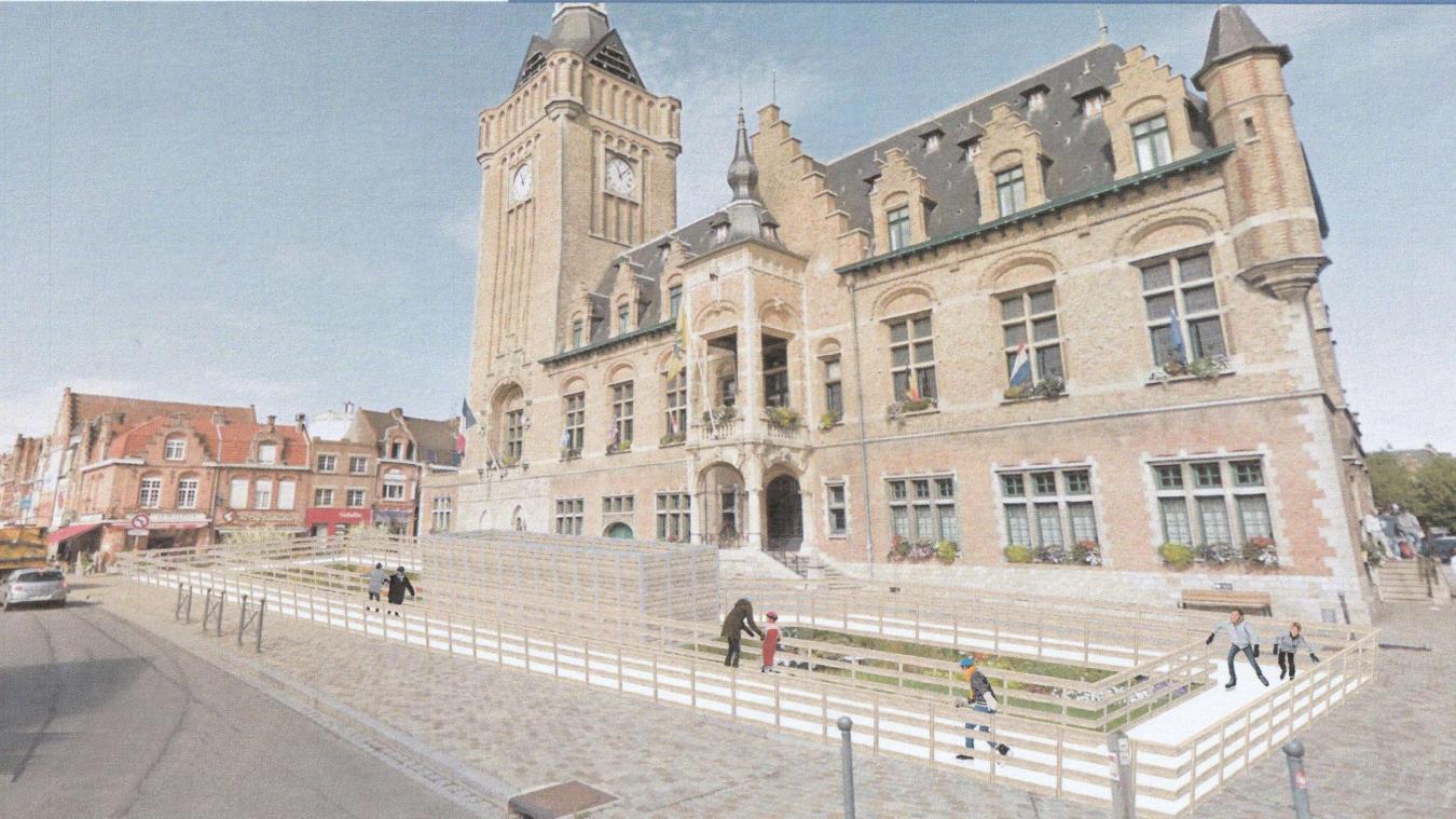 Pendant un mois, petits et grands pourront s'adonner aux joies de la glisse grâce à la patinoire installée devant la mairie.