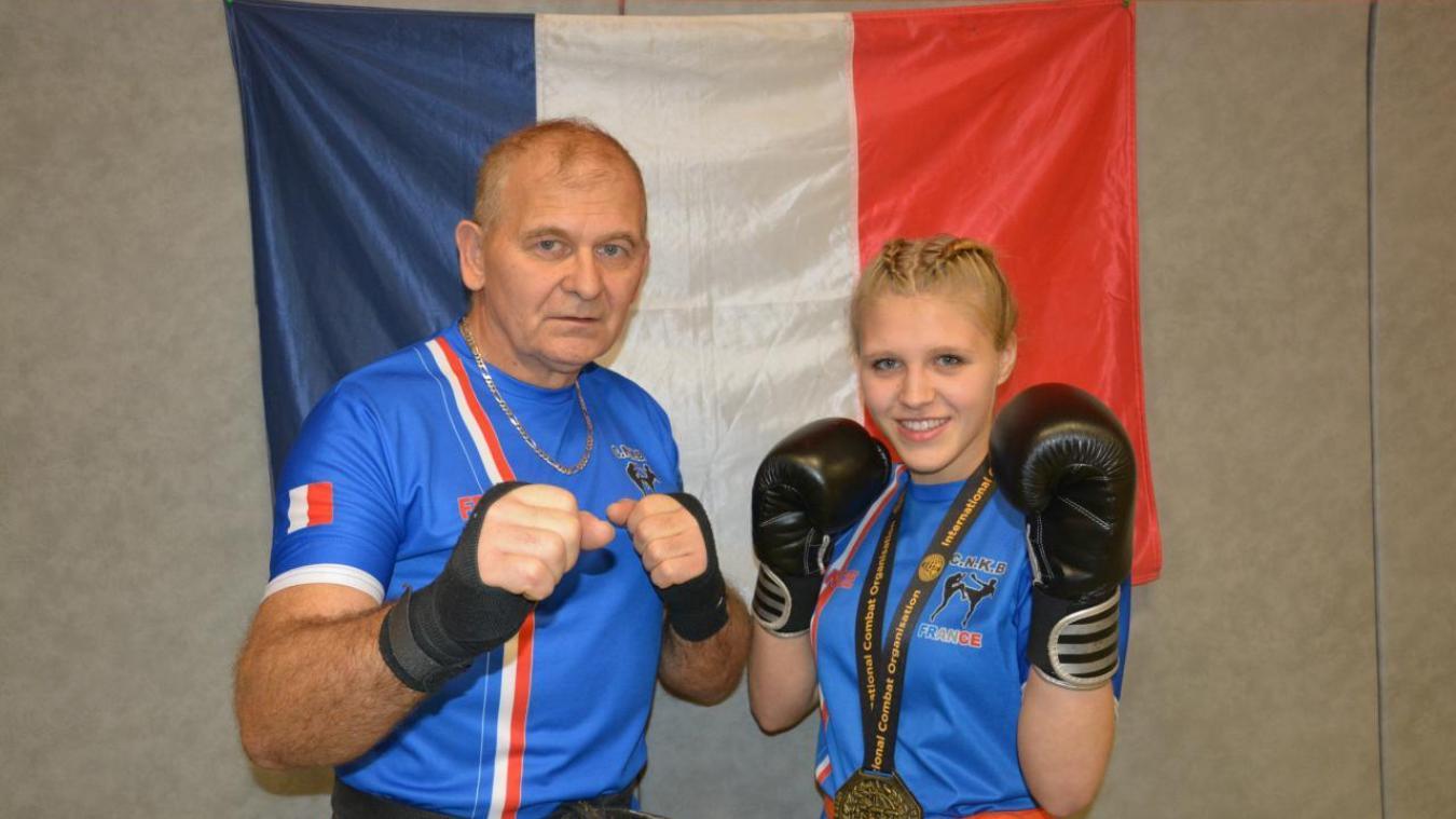 Charlotte Padie et son entraîneur Marian Krzymanski, heureux de ramener le titre chez eux.