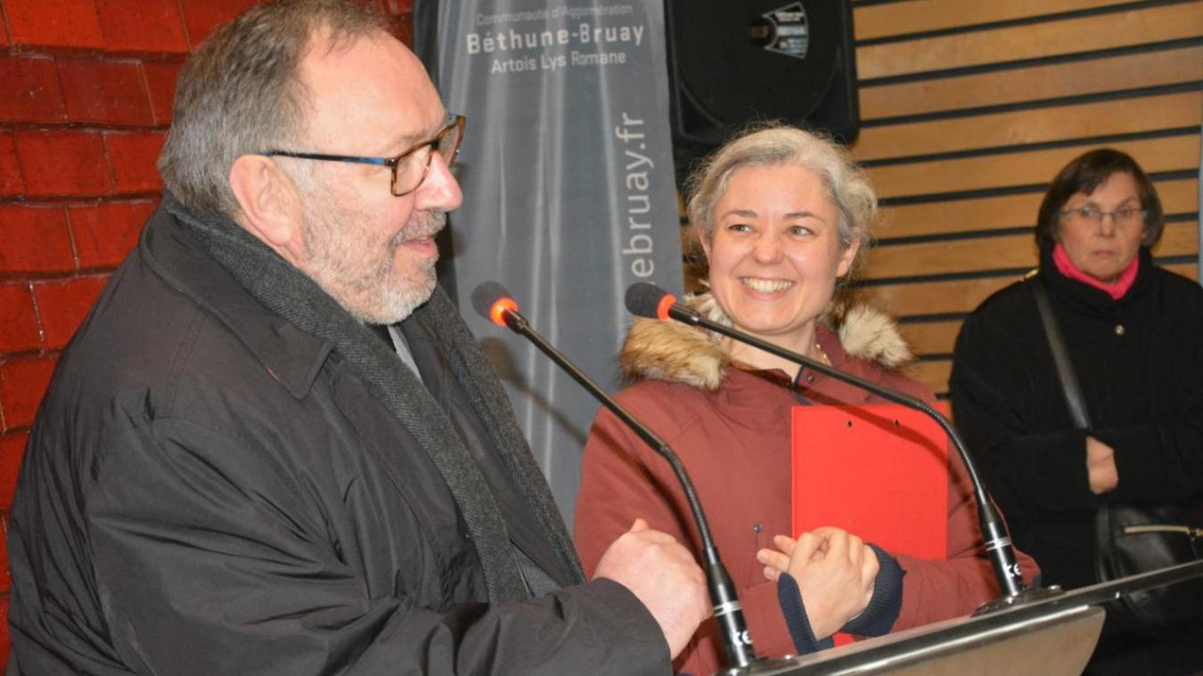 Alain Wacheux, président de la CABBARL et Isabelle Mauchin, directrice de la Cité des Électriciens, ont accueilli les visiteurs lors de la fête de la Sainte-Barbe.