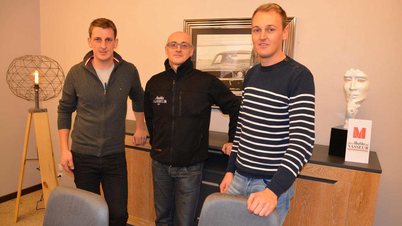Rémi Vasseur, Pascal Cornet, Quentin Vasseur (de gauche à droite) assurent la continuité des Meubles Vasseur, avec Pascal Vasseur pour gérant.