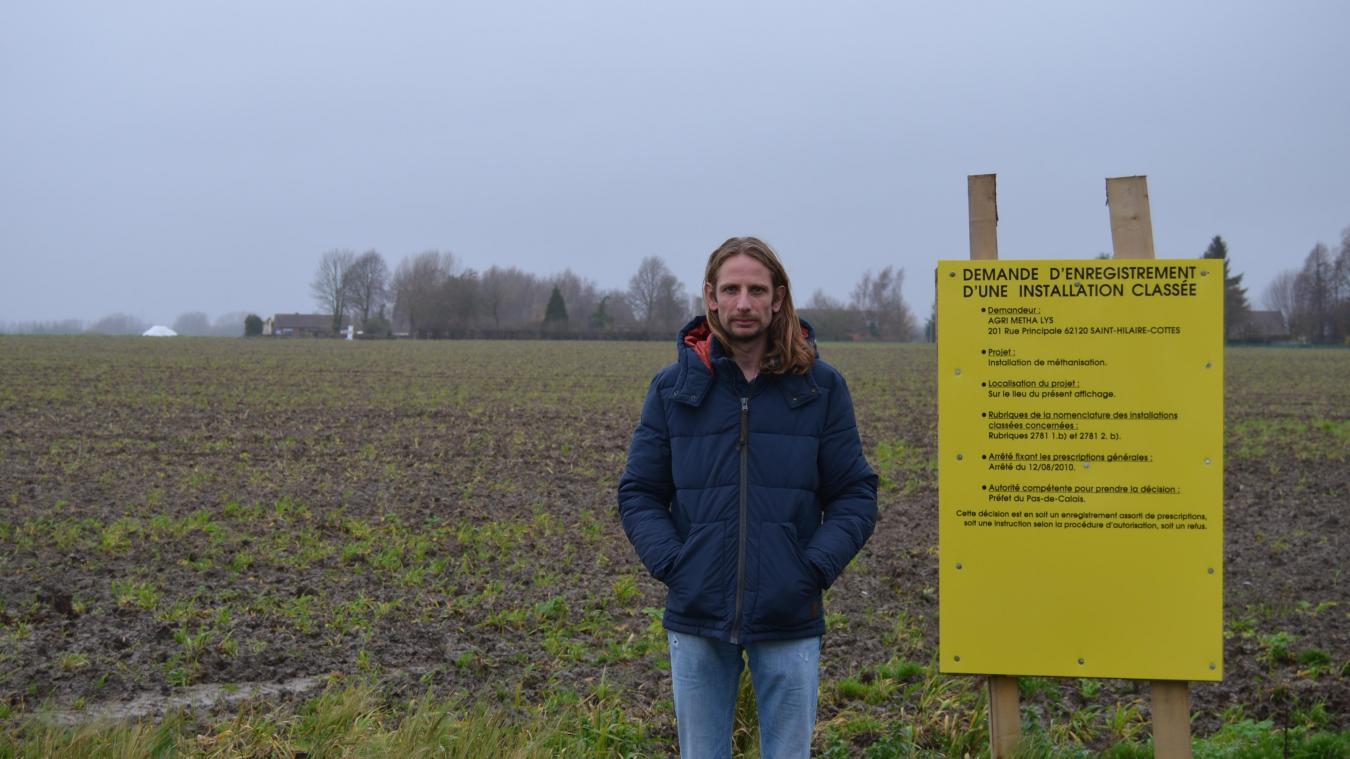 Arnaud Dusart, qui habite à 300 mètres de la future unité de méthanisation agricole, a alerté la population d'Ham-en-Artois sur ce projet.