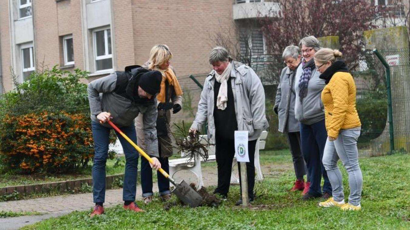 Quelques habitants se sont réunis au square Cassin pour planter un rosier, premier acte symbolique d'une transformation de l'espace.