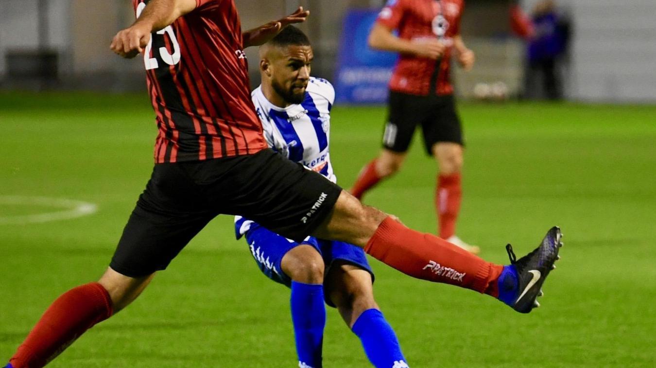 Adil Lebrun sous les couleurs dunkerquoises lors de la défaite de l'USLD (1-0) dans le derby face à Boulogne-sur-Mer, fin septembre.