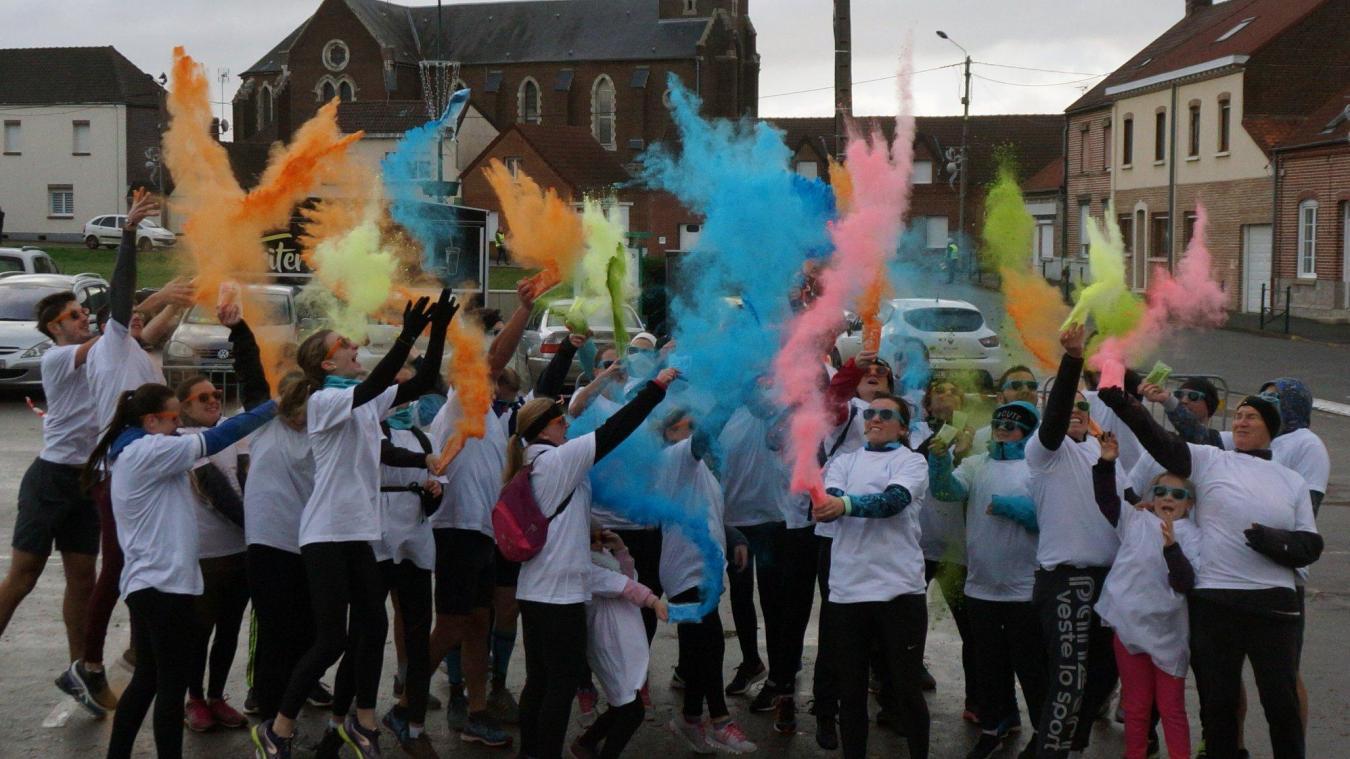 La MJ' Colors, course colorée organisée par la MJEP, a permis de collecter 480€ malgré le mauvais temps et la faible participation.  © MJEP