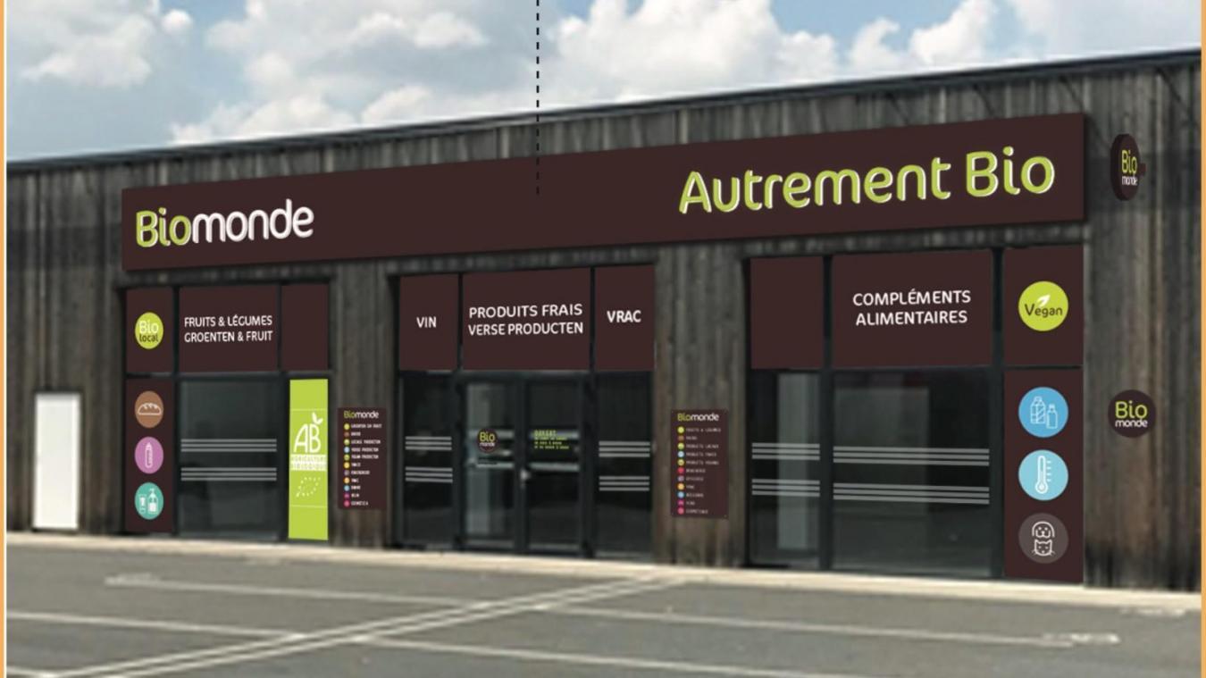 La façade du futur magasin bio, qui s'affichera en Français et en Flamand, devrait ressembler à cela.