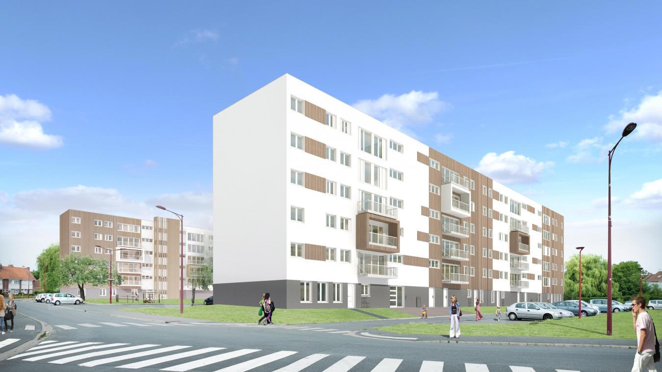 Quatre des cinq immeubles du quartier seront rénovés. Le cinquième, le bâtiment Platanes, sera détuit. En remplacement, 44 nouveaux logements seront reconstruits dans le quartier. ©Ville d'Hazebrouck