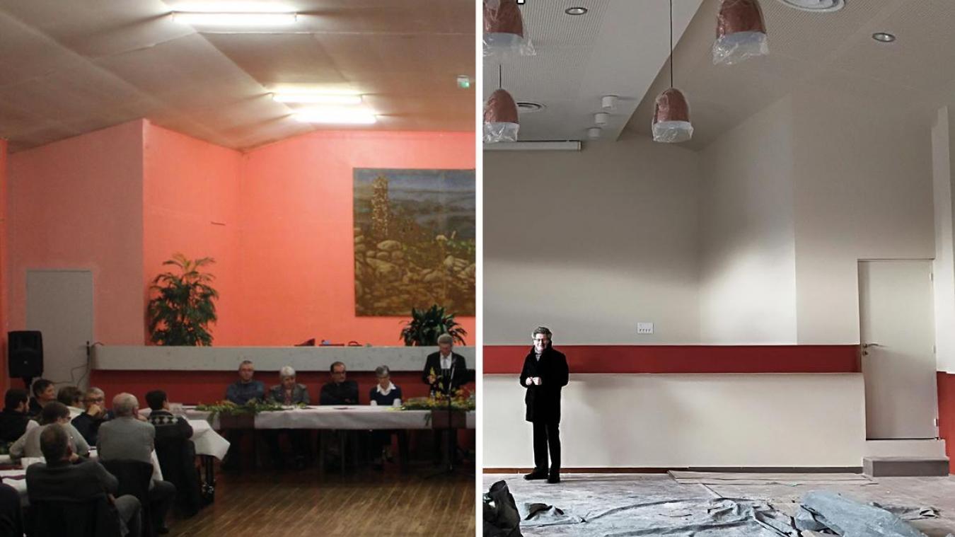À gauche, la salle des fêtes lors de la cérémonie des vœux en janvier 2018, à droite la même salle un an après.