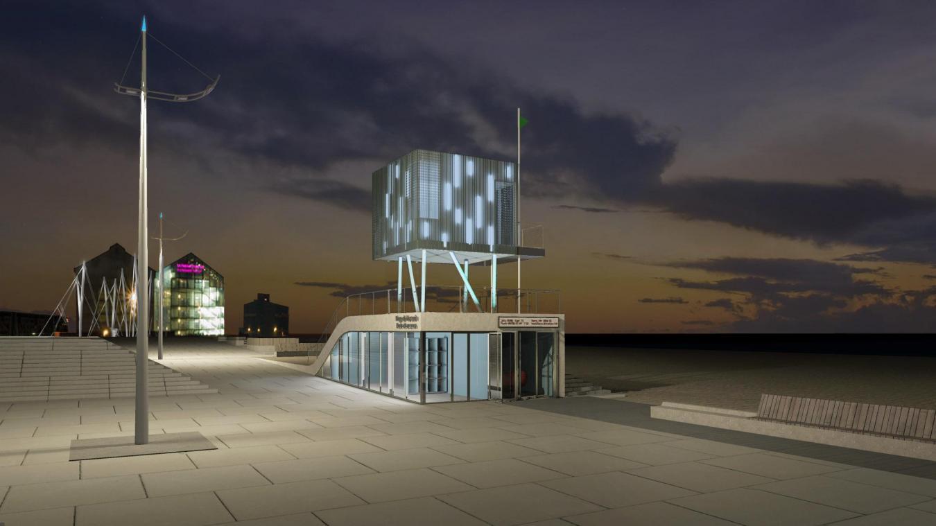 Le poste de secours et le Fonds régional d'art contemporain (Frac) seront visibles l'un de l'autre. D'ailleurs, une passerelle sera intégrée au poste de secours pour rappeler celle du Frac.