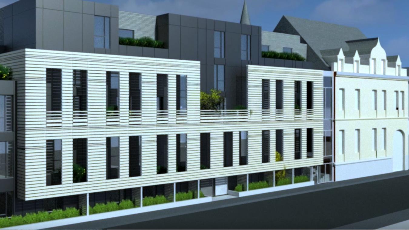 Vue de l'Ehpad tel qu'il devrait être depuis la rue Beffara. À droite, le bâtiment actuel qui abrite le siège social de la Vie active.