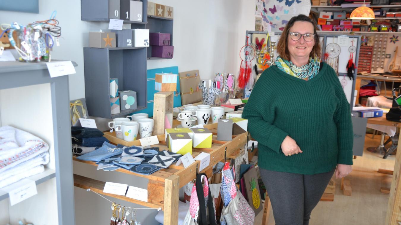 Véronique Bridoux, de la boutique Fée main, est la nouvelle présidente de l'union commerciale de Lestrem, l'Uc2l.
