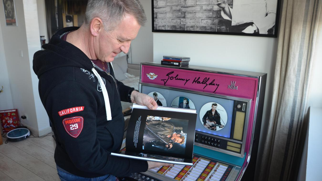 Francis Lequeutre, président du Fan-club Johnny Hallyday Côte d'Opale, organise chaque année avec son association la bourse aux disques de Boulogne.