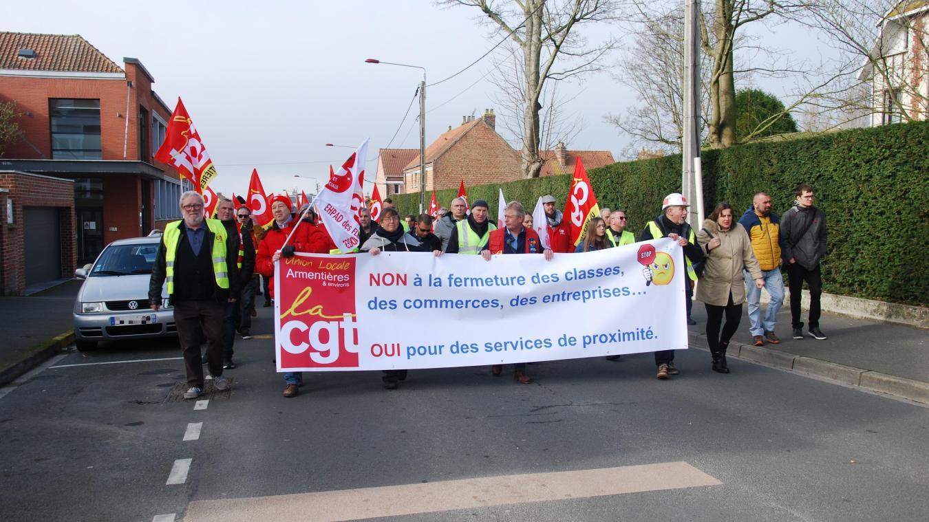 La manifestation était organisée à l'appel de l'union locale CGT d'Armentières.