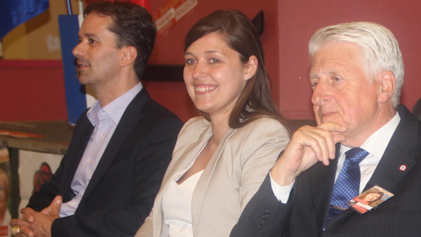 Sylvain Robert, Frédérique Masson (alors candidate PS aux dernières législatives) et Guy Delcourt  : le maire actuel a été intronisé par son prédécesseur.