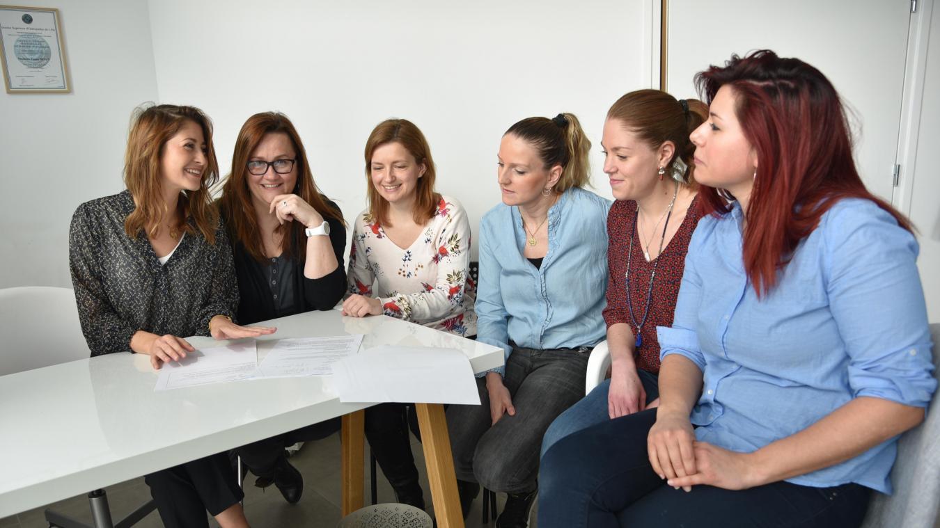 Fanny, Virginie, Caroline, Céline, Marion et Céline sont réunies dans les mêmes locaux.