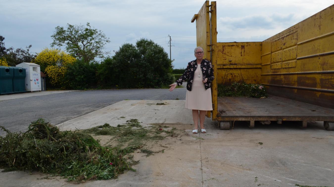 Lors de notre rendez-vous avec Patricia Moone, la benne à déchets verts est vide. Mais une partie des déchets était disposée à côté.