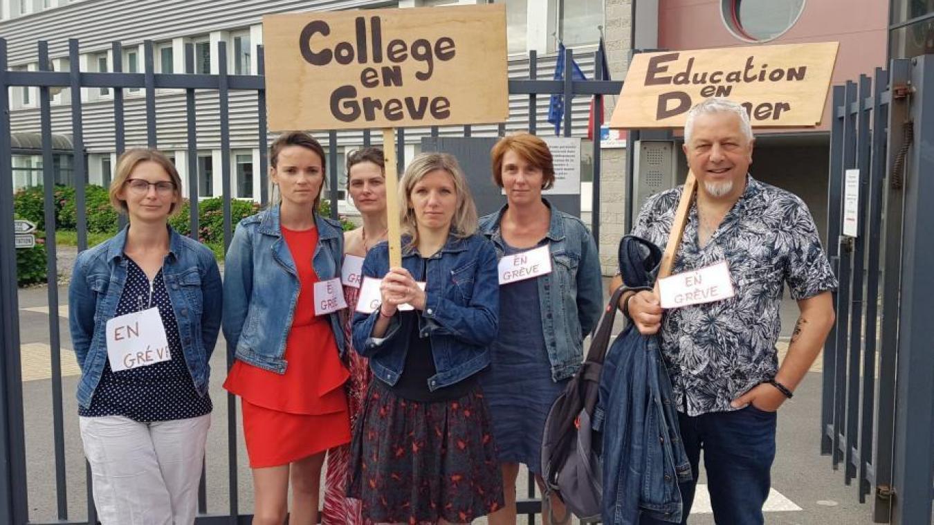 Des enseignants du collège Jean-Jaurès protestent ce vendredi 5 juillet contre la réduction de moyens.