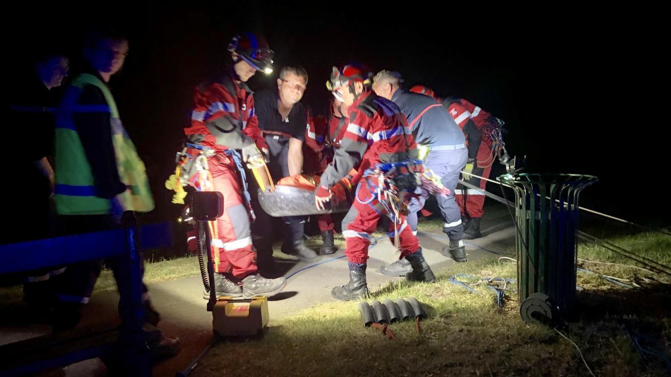 Le GRIMP est parvenu à remonter l'individu blessé peu avant minuit.