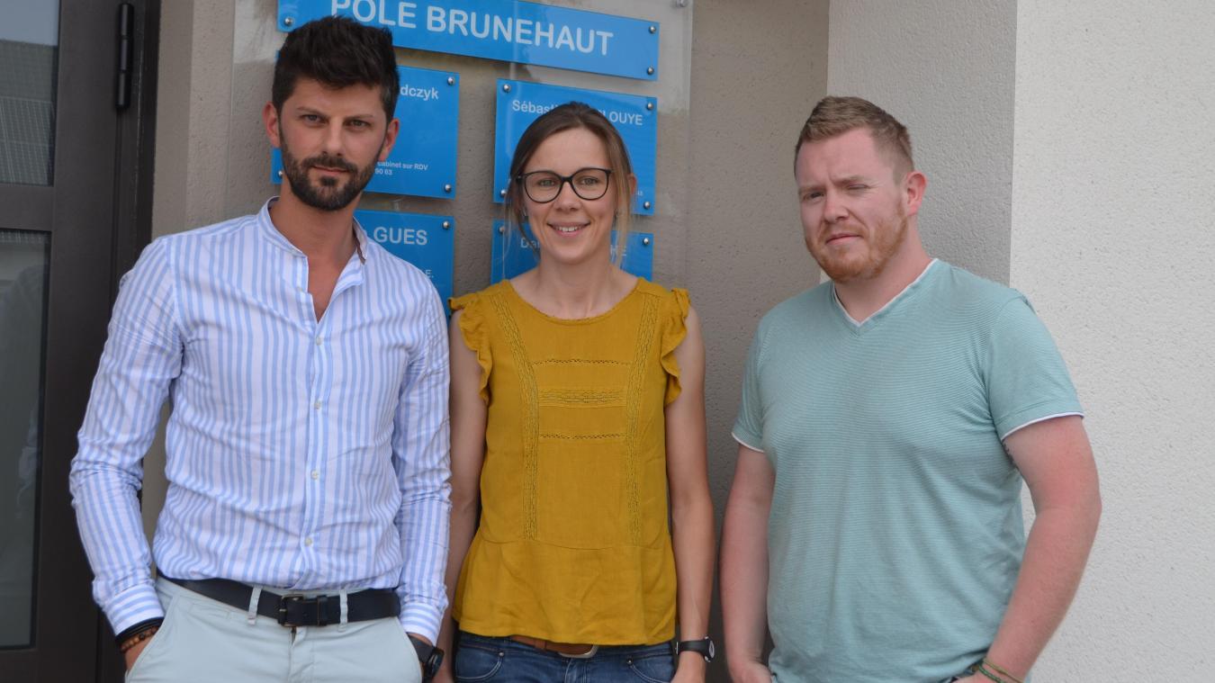 Gaël Debrulle, diététicien, Céline Petit, kiné, et Sébastien Duplouye, infirmier et sophrologue sont les trois derniers arrivés.