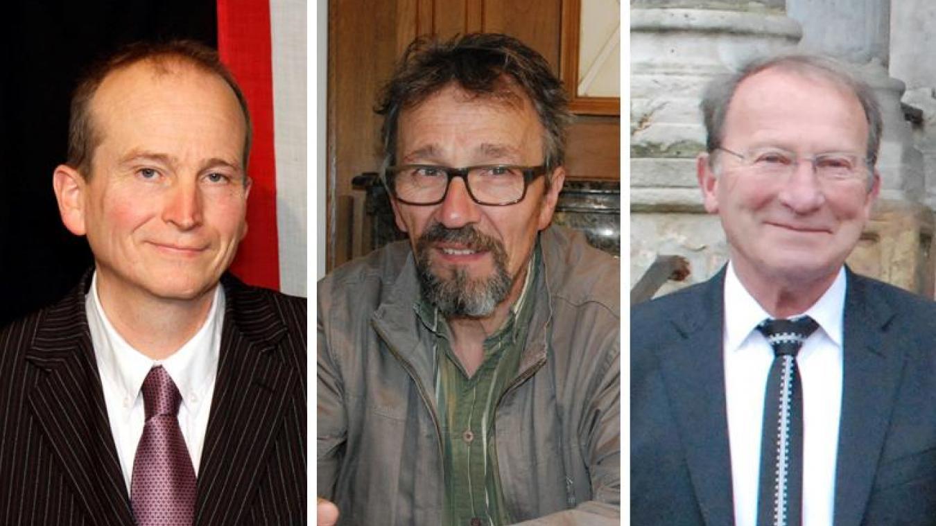 Philippe Durier et Gérard Lozinguez sont en discussion alors que Christian Clément confirme sa candidature.