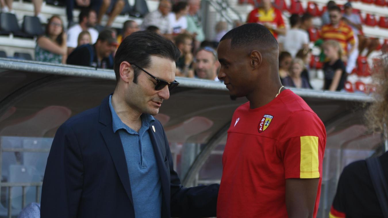 Joseph Oughourlian (à gauche), président du club, annonçait l'objectif Ligue 1 devant 600 personnes samedi 20 juillet.