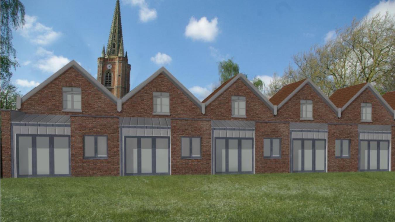 Ce dessin d'architecte montre l'arrière d'une rangée de maisons avec des baies vitrées.