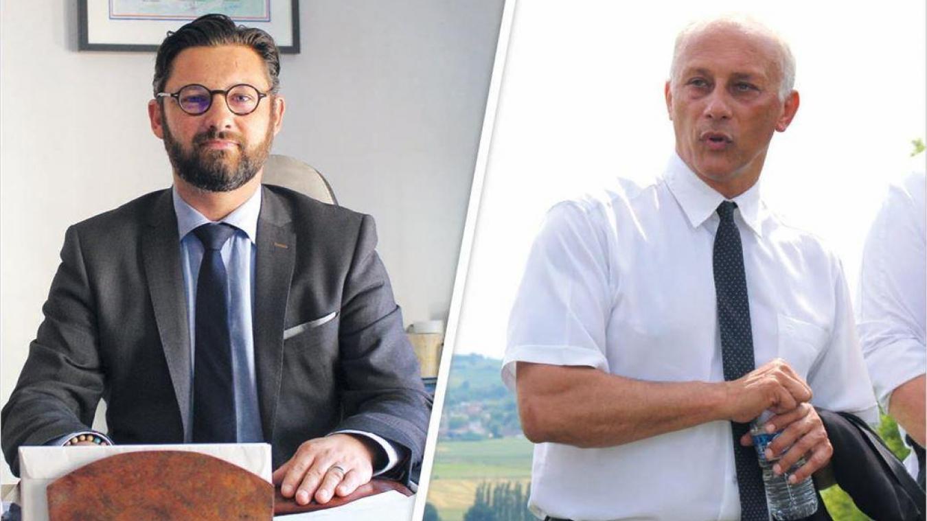 À gauche, Olivier Switaj, maire de Bruay-la-Buissière. À droite, Bernard Cailliau, maire de Labuissière.
