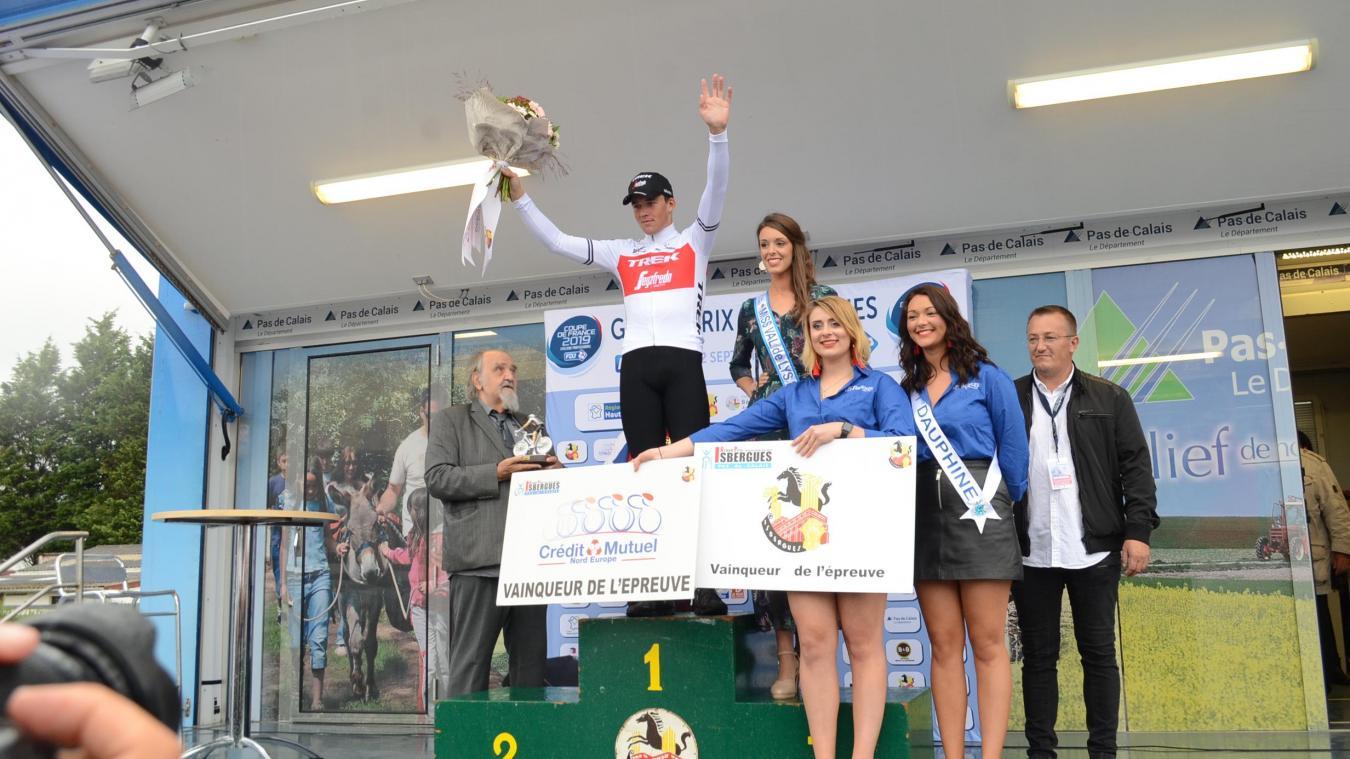 Le Danois Mads Pedersen sur le podium du Grand prix d'Isbergues le 22 septembre dernier.