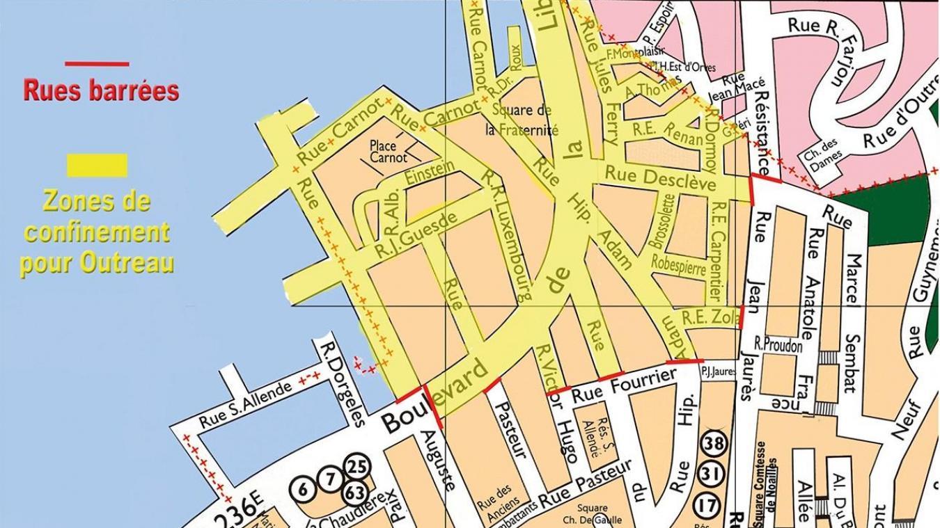 En jaune, les zones de confinement établies pour la ville d'Outreau.