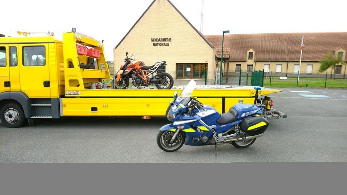 La moto a été confisquée et placée en fourrière. ©Gendarmerie nationale