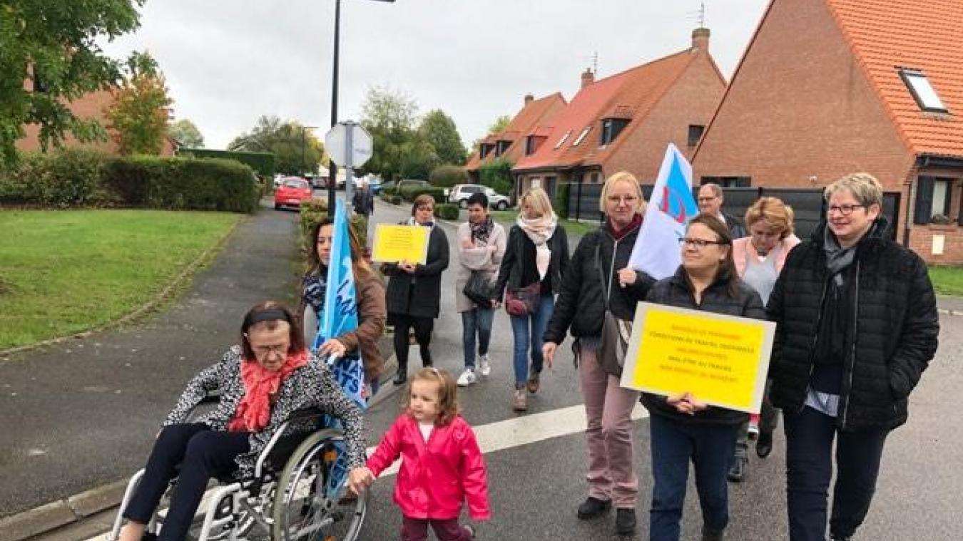 Une manifestation était organisée à Sailly-sur-la-Lys ce mardi 8 octobre.