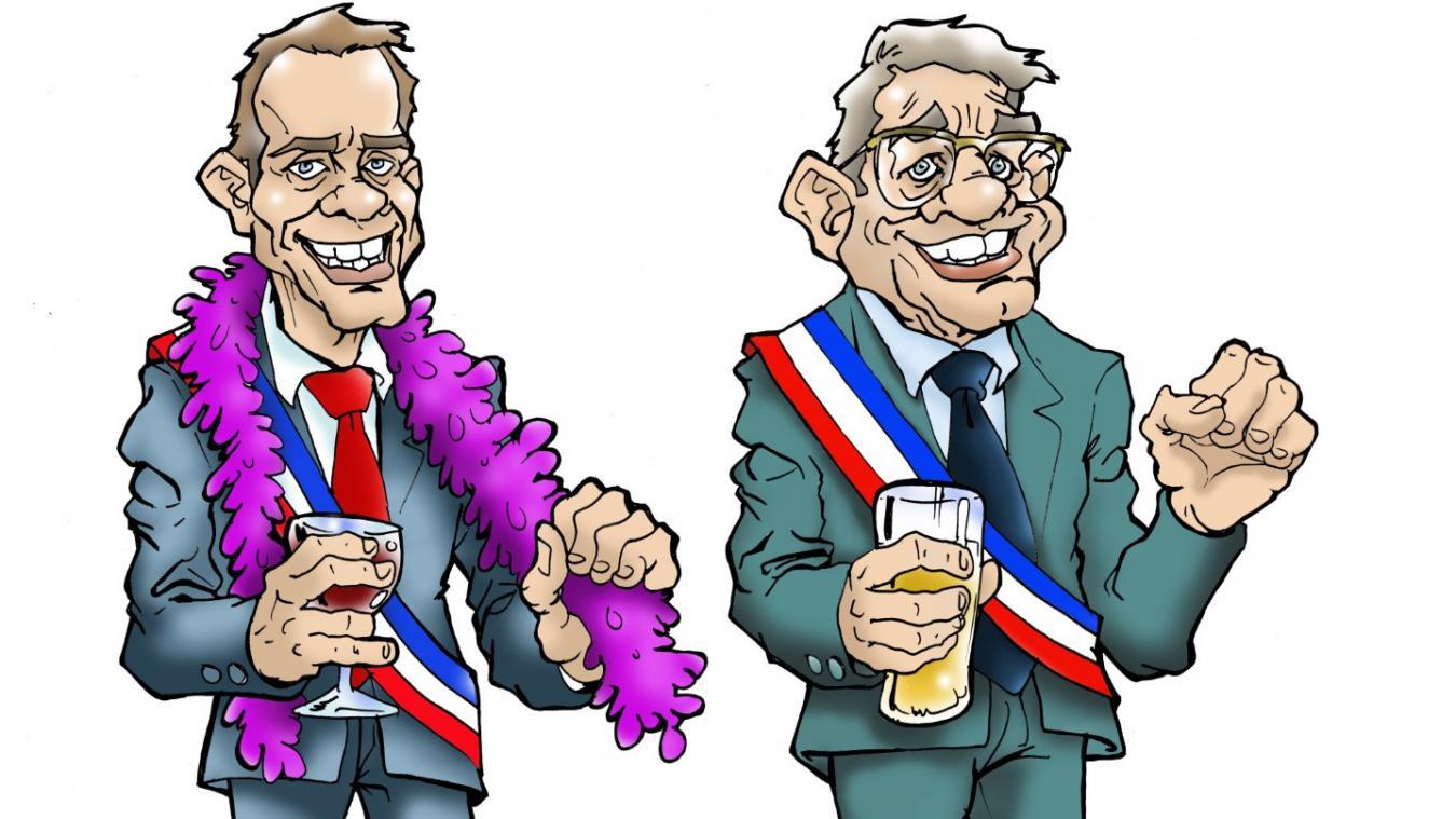En mars dernier, Le Phare dunkerquois et Le Journal des Flandres diffusaient les portraits type des maires dans le Dunkerquois (à gauche) et des Flandres (à droite).