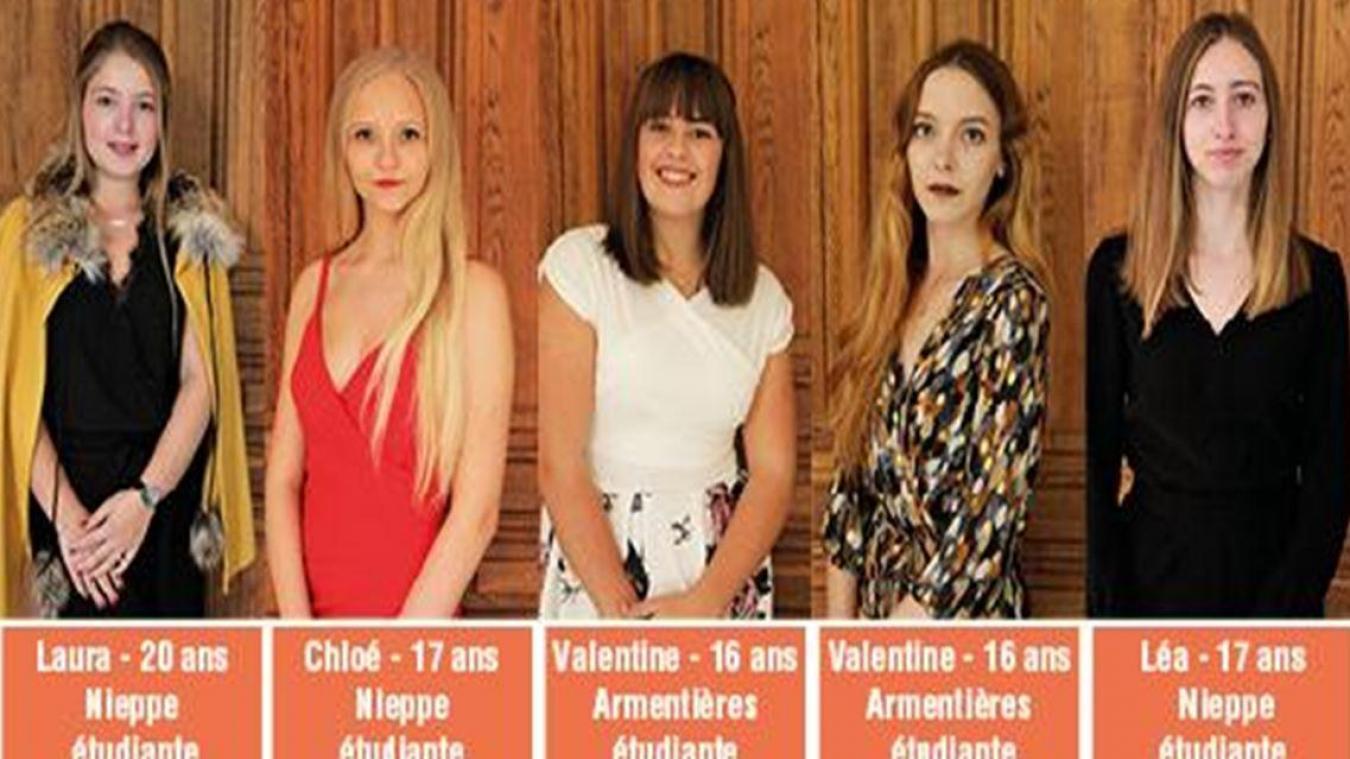 Les cinq candidates au titre de Miss Nieppe.
