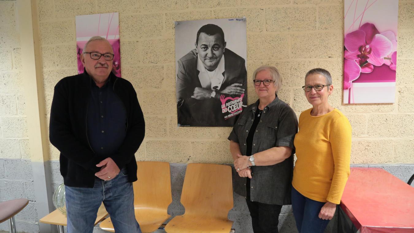 Philippe Olivier, Joëlle Baude et Pascale Delbée, trois bénévoles des Restos du coeur.