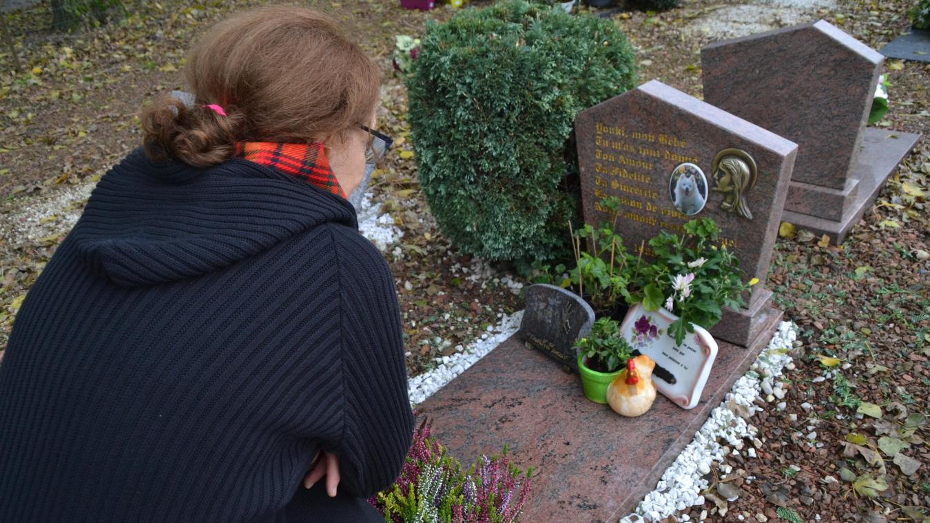 Marie a perdu Youki en 2005. Elle vient tous les mois se recueillir sur la tombe de son chien au cimetière animalier de Quaëdypre.