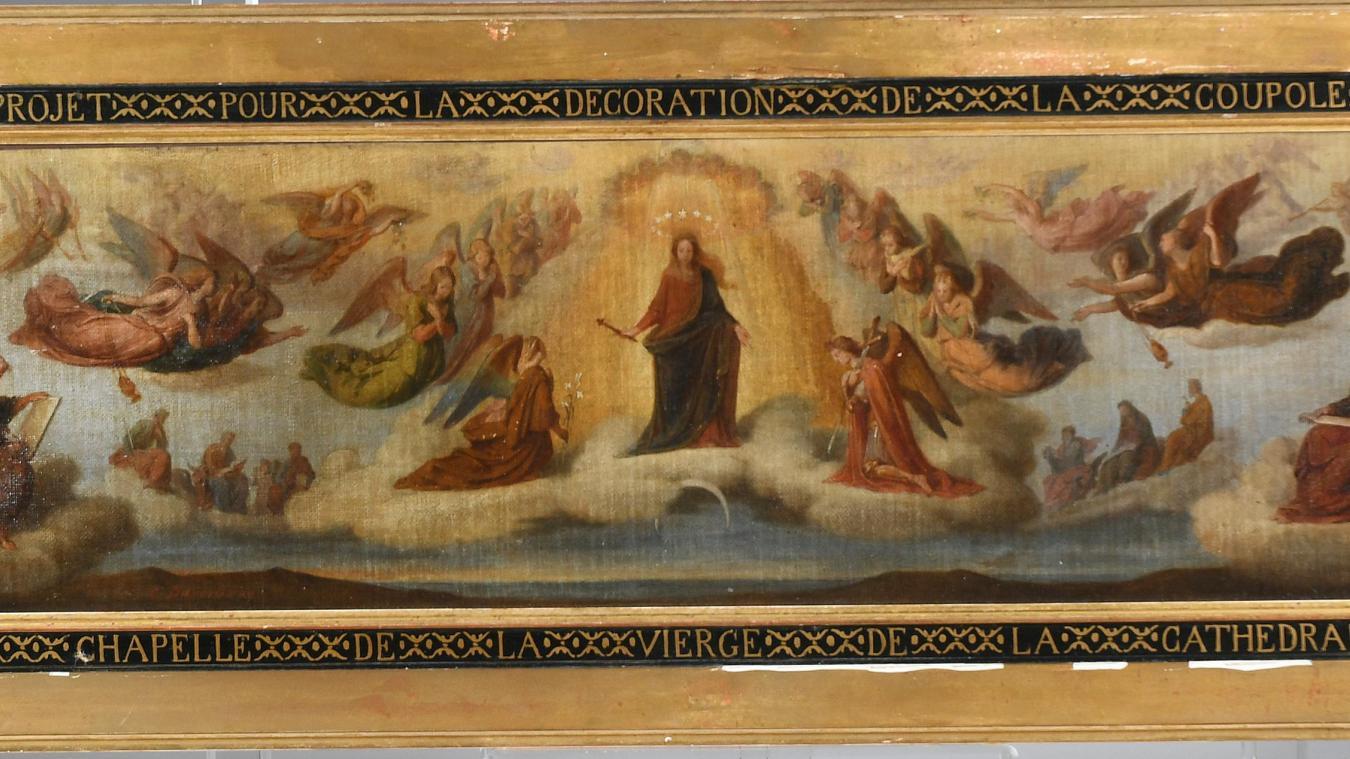L'œuvre mise en vente est une huile sur toile de belle dimension et d'une grande précision (120 x 27 cm). Détail.