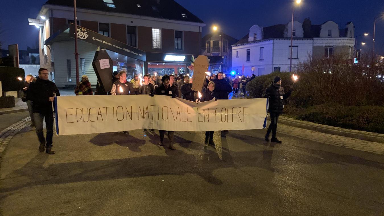 En janvier, les professeurs avaient manifesté en centre-ville.