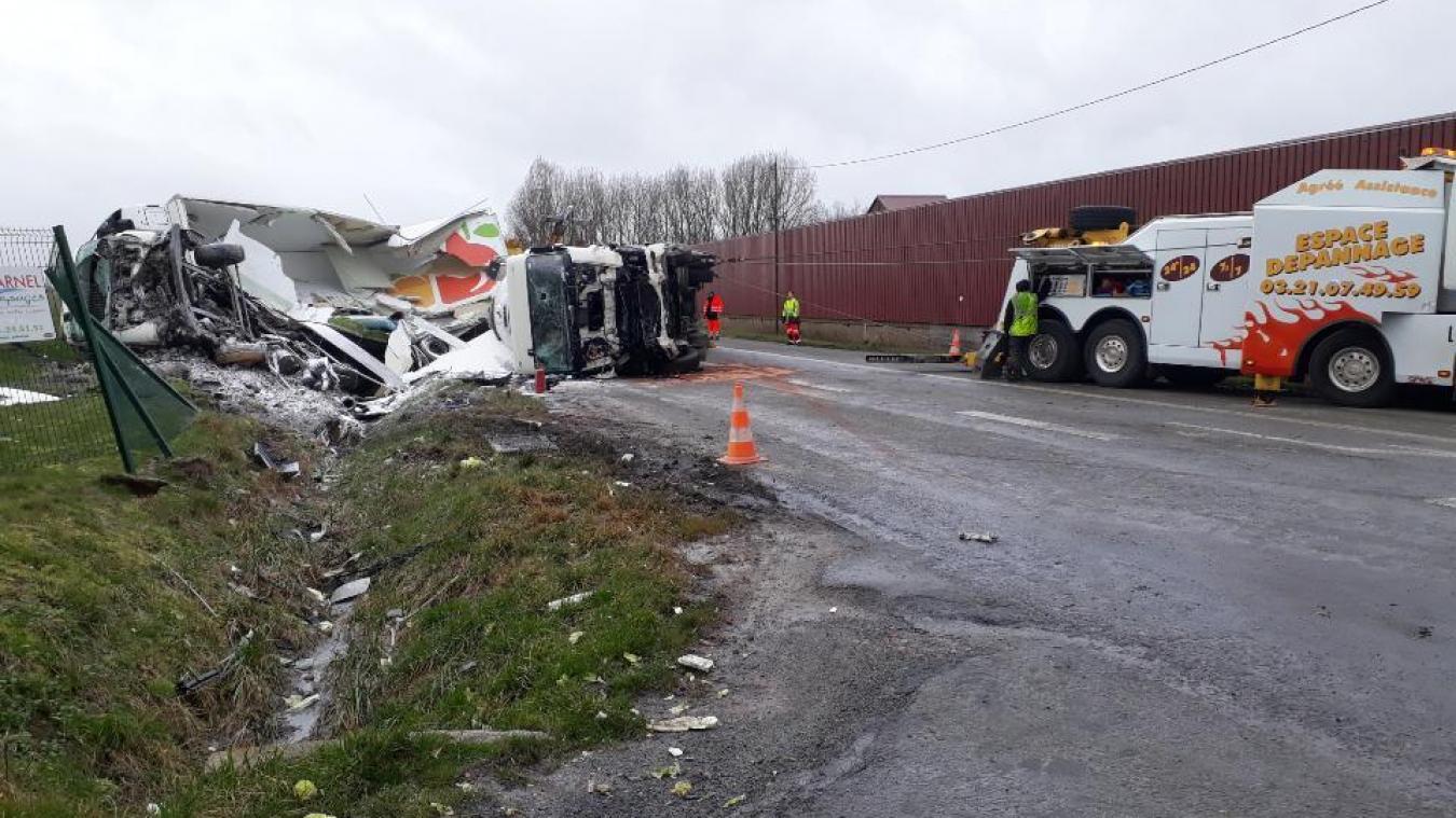 Accident entre deux poids lourds entre Bapaume et Cambrai