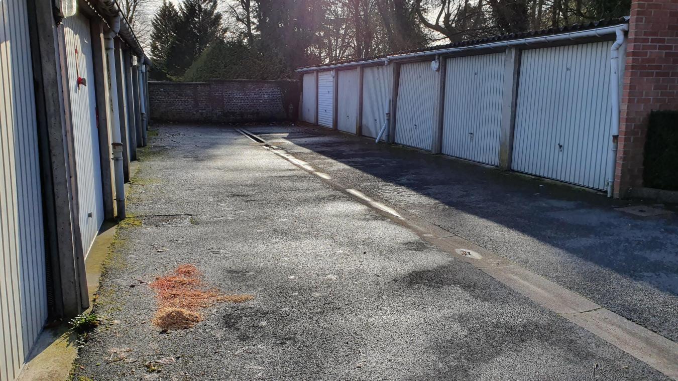 Les deux corps et l'arme ont été retrouvés dans cette allée de garages.