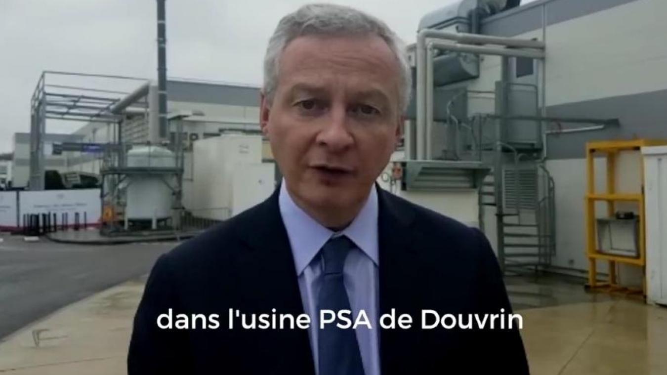 Depuis la région Nouvelle-Aquitaine, le 30 janvier, Bruno Lemaire déclare face caméra que  l'étape suivante, c'est dans « l'usine PSA de Douvrin, dans les Hauts-de-France ».  (Capture Twitter)