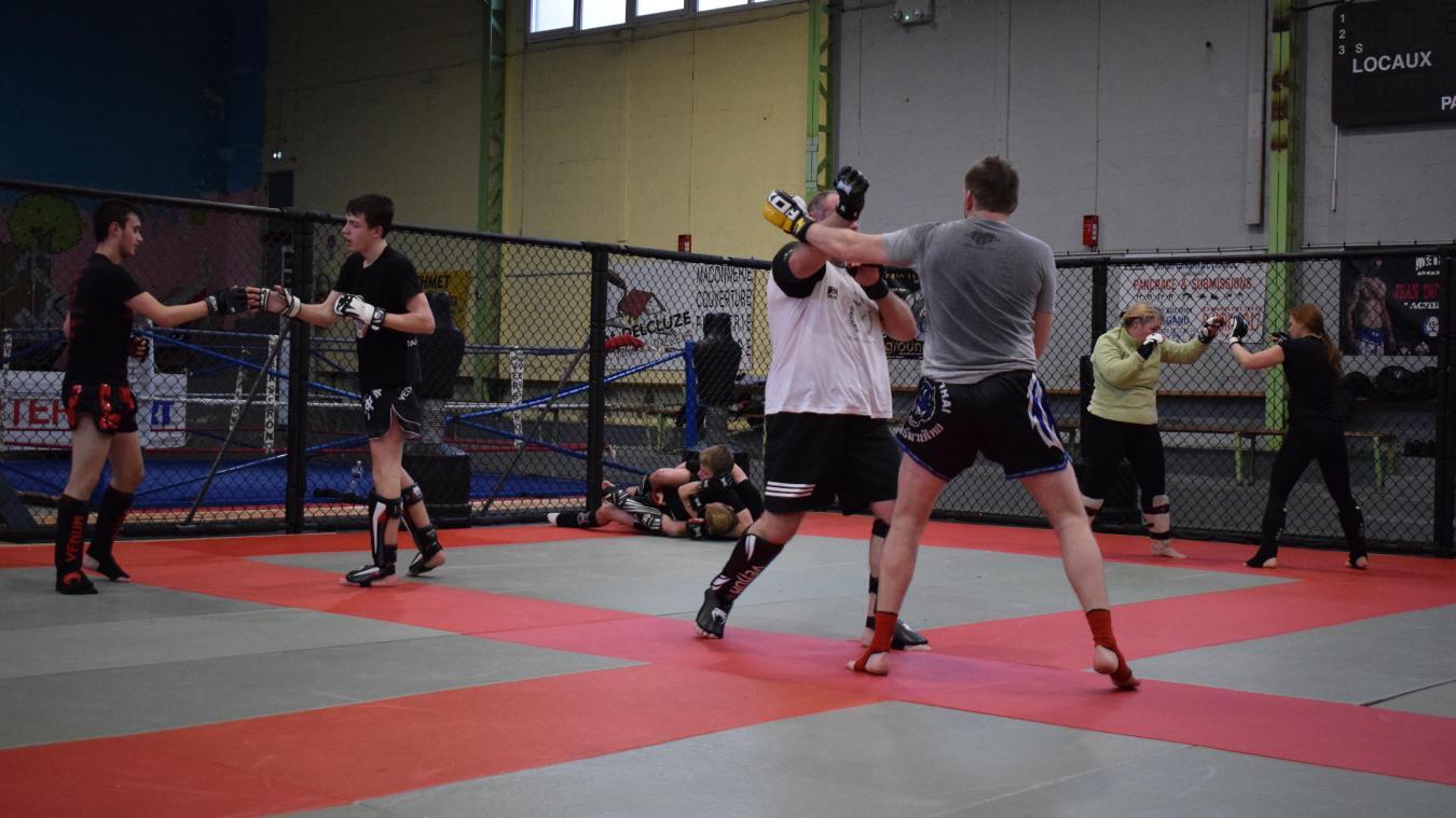 Des panneaux ont fait leur apparition à la salle Marcourt, permettant au club de MMA d'entraîner ses athlètes en condition réelle, comme dans une cage de MMA.