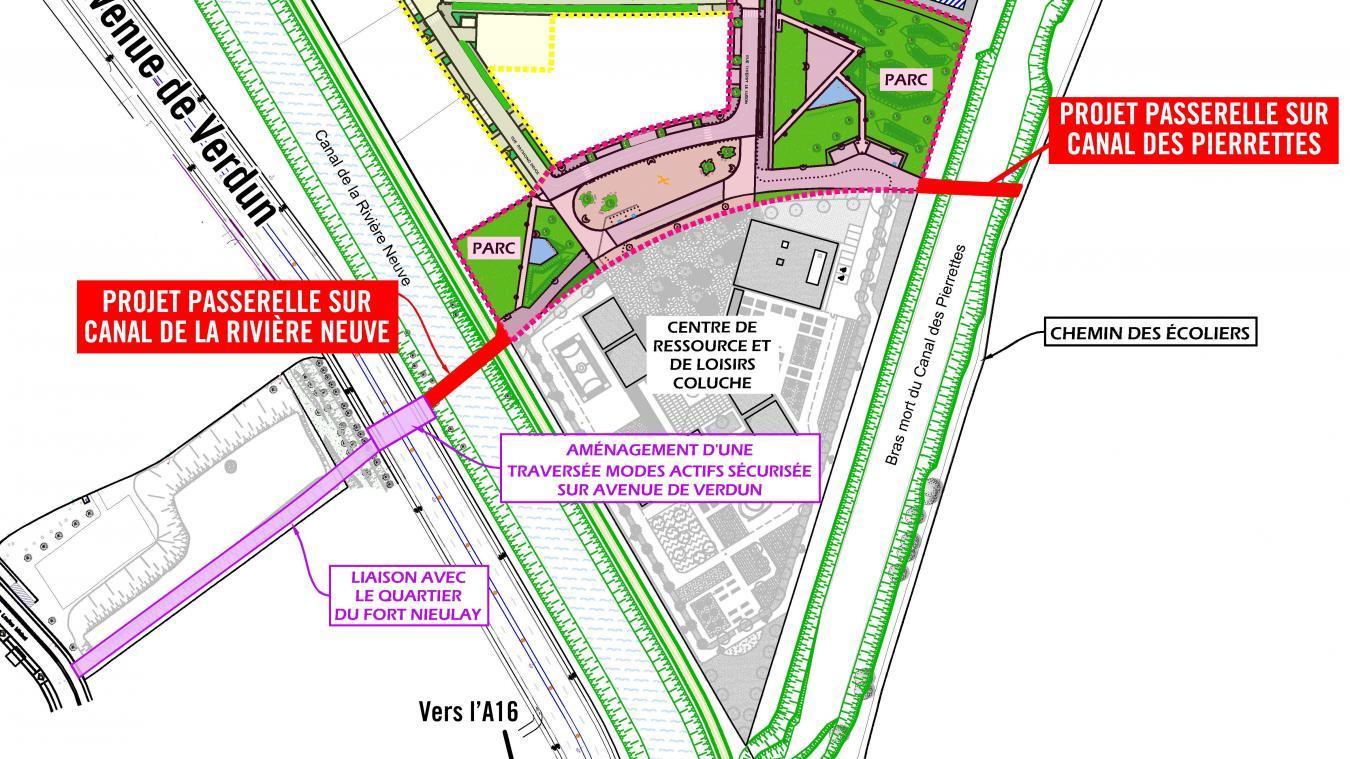 En bas à gauche, se trouve le chemin cyclo-piéton qui a été inauguré hier. Sur ce schéma, on peut voir le reste des aménagements prévus dans le projet.