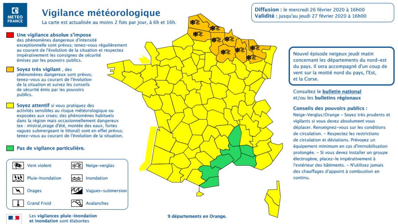 Les Hauts-de-France placés en vigilance orange pour neige et verglas