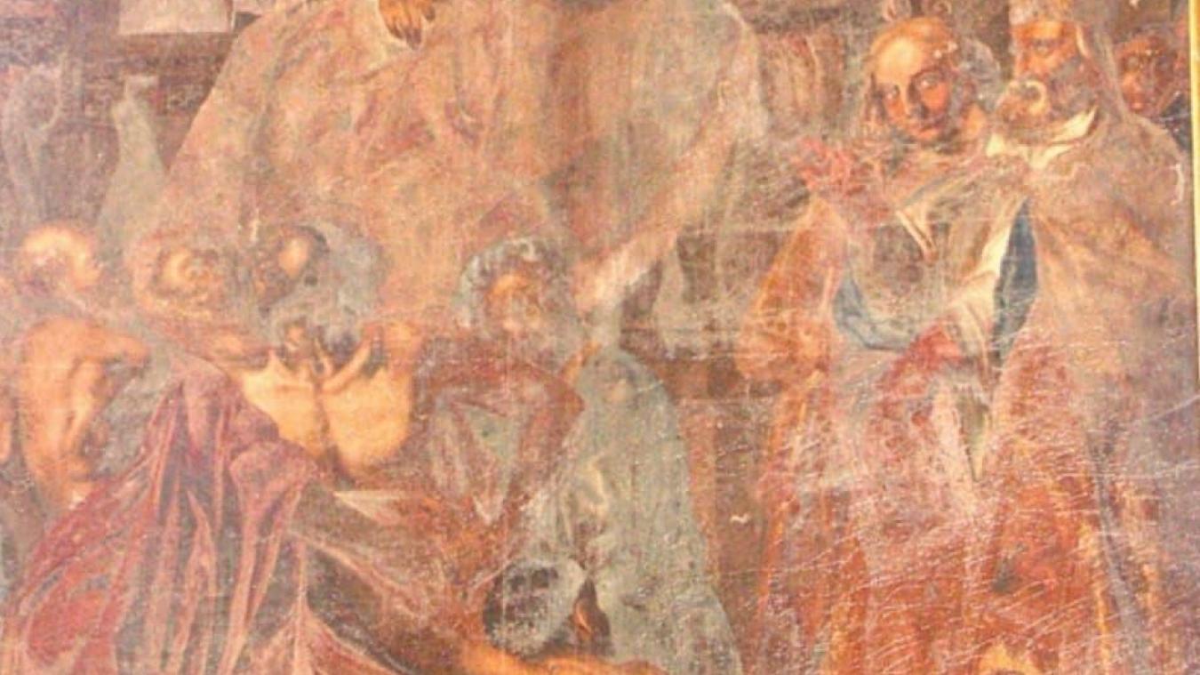 Le tableau est à peine visible sous ses couches de vernis opaque.