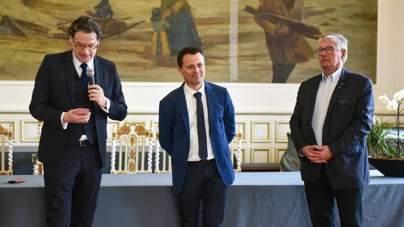 Jean-Philippe Gold, Directeur du comité régional du tourisme des Hauts de France, François Goudeau et le maire de Berck, Bruno Cousein.