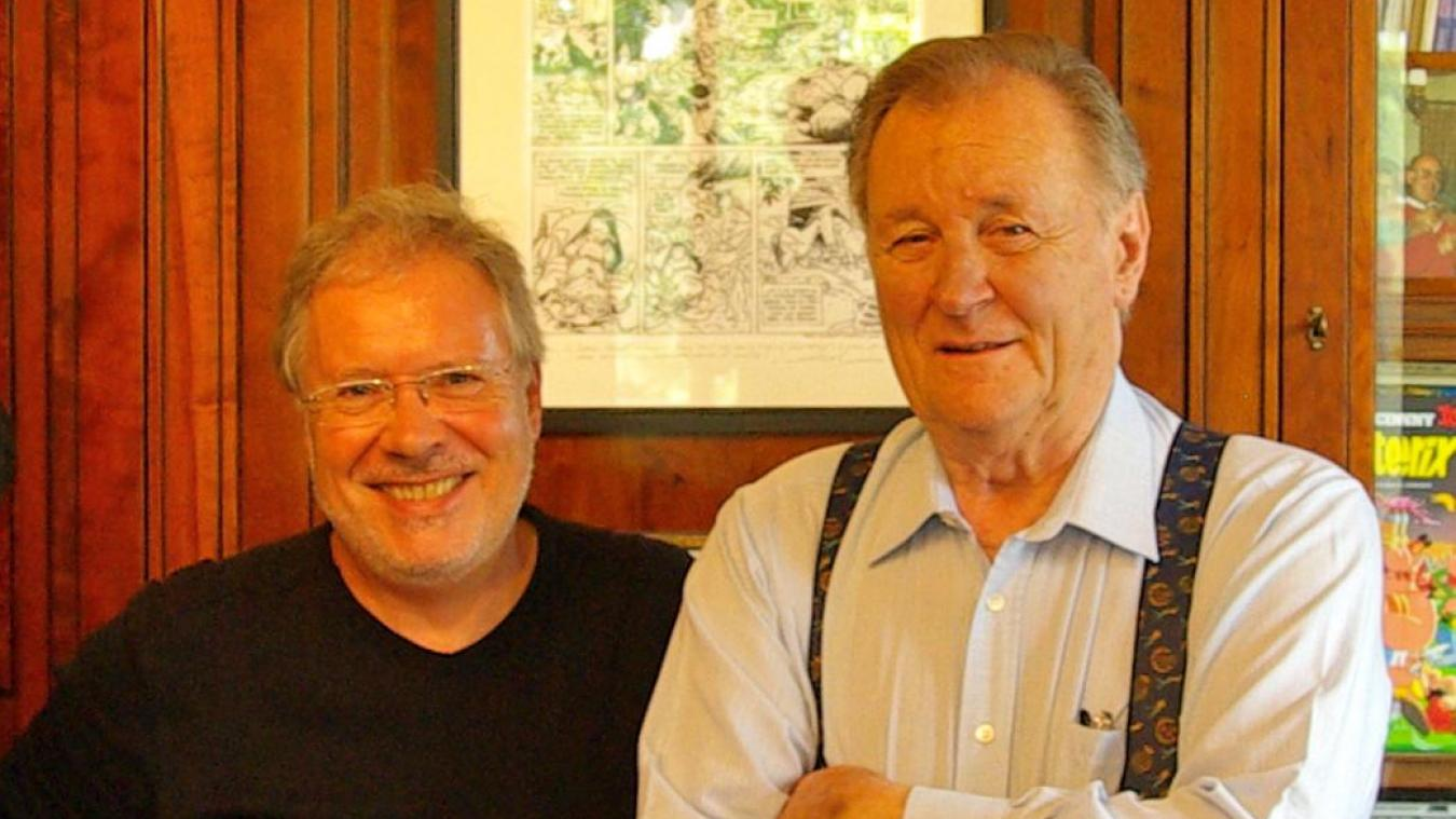 Régis Grebent (à gauche) et Albert Uderzo (à droite).