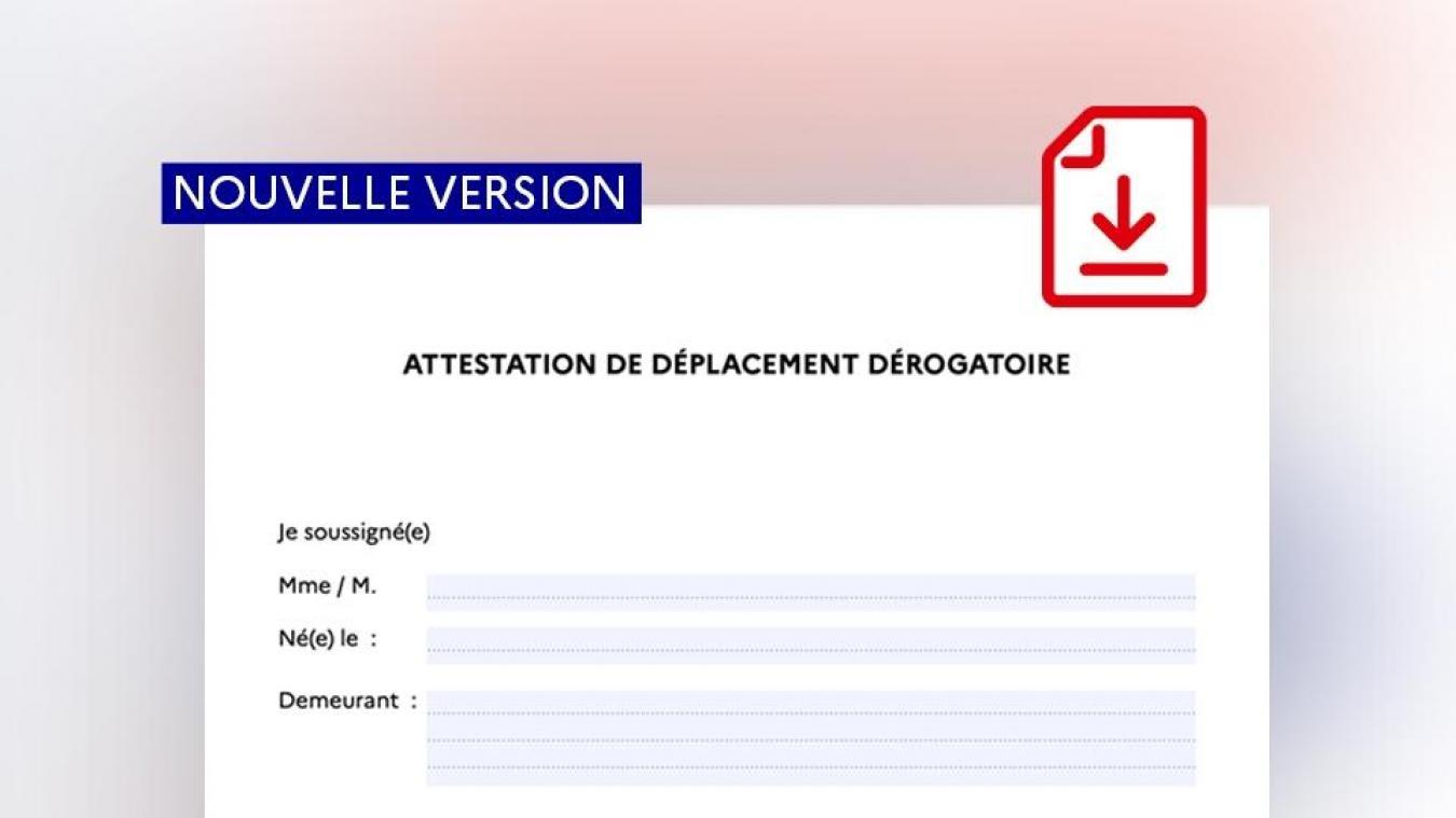 Une nouvelle version de l'attestation de déplacement dérogatoire a été mise en ligne le mardi 24 mars 2020 par le ministère de l'Intérieur.
