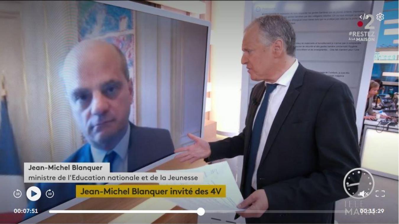 Le ministre de l'Éducation nationale Jean-Michel Blanquer était l'invité des 4 Vérités de France 2 ce mardi matin.