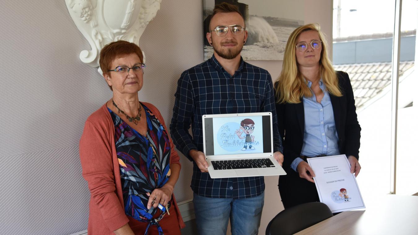 Florian Famchon, président de l'association, entouré d'Irène Rousseaux et de Mélanie Bélart, vice-présidentes.