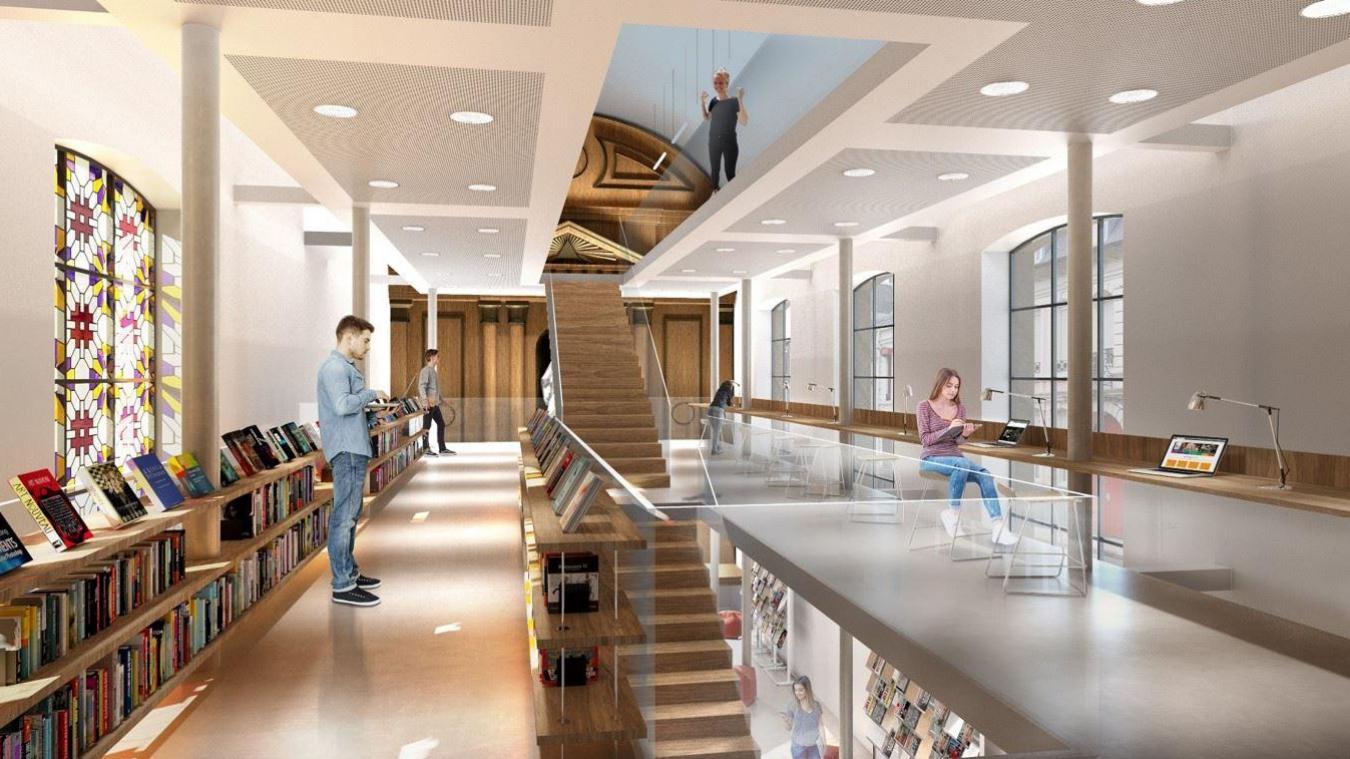 La vision séduisante de l'intérieur de l'hôpital Saint-Jean-Baptiste, avec ses nouvelles vocations, dont la médiathèque.